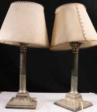 Pair of silver plated column candlesticks converted to ...