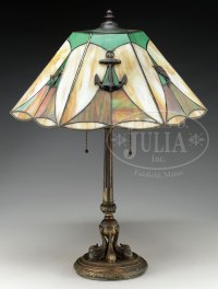 LEADED GLASS NAUTICAL TABLE LAMP.Leaded glass table lamp
