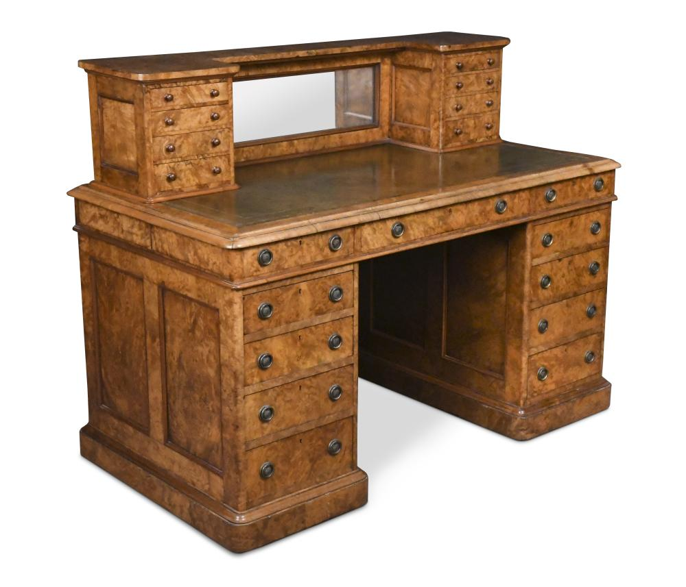 Unusual Desk A Unusual Mid Victorian Figured Walnut Pedestal Writing Desk With