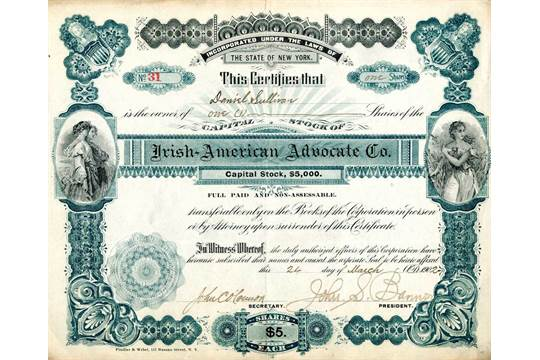 An Irish-American Advocate Company Share CertificateA Capital Stock - Company Share Certificates