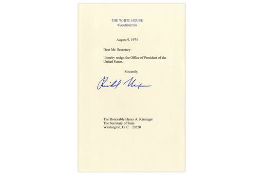 Richard Nixon signed Presidential resignation, dated 9 August 1974