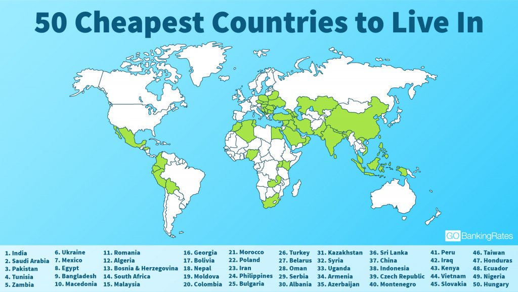50 Cheapest Countries to Live In GOBankingRates - best of world map hungary syria