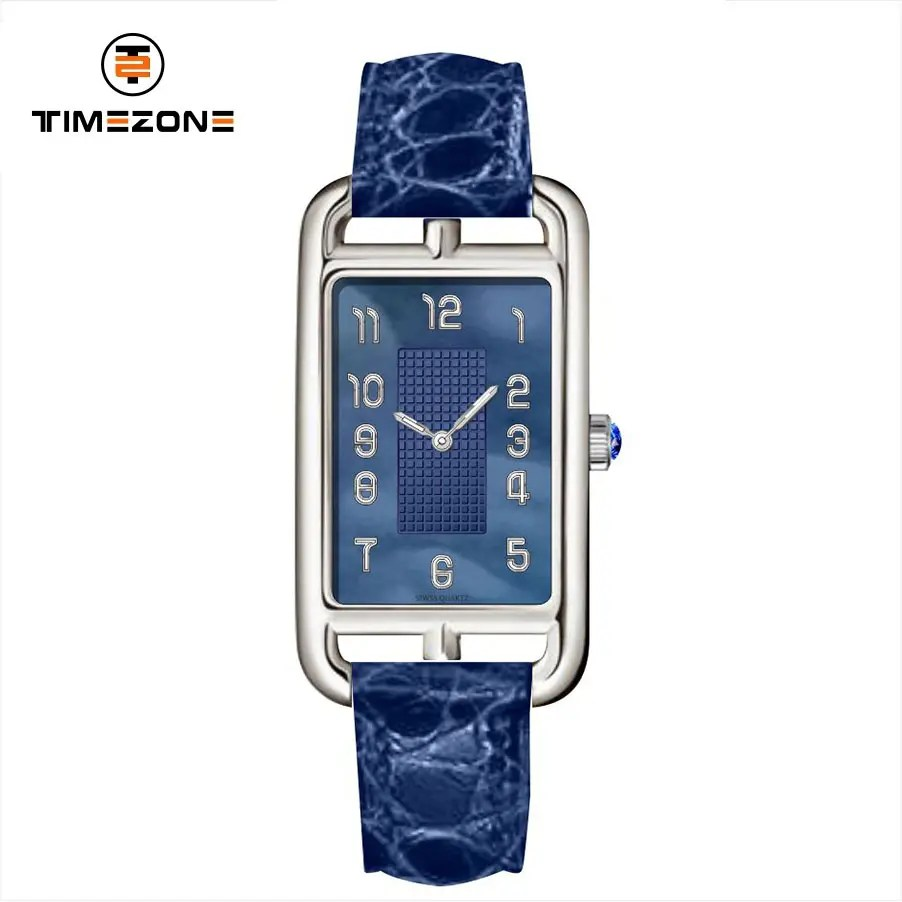 China 2019 China New Design Custom Mens Watch 2017 Luxury Watch Brands Timezone Rectangular Case Crocodile Leather Strap Watch Timezone Manufacturer And Supplier Timezone