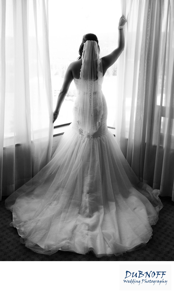 back of stunning wedding dress in San Francisco in Black and White