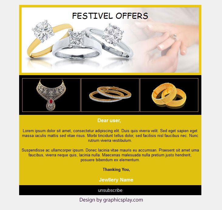 Jewellery Shop HTML Email Newsletter Template ID - 2859 - GraphicsPlay