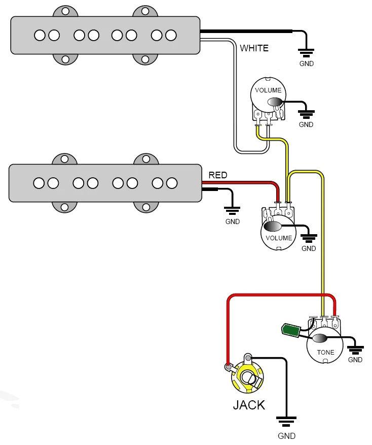 guitar two pickup wiring diagram