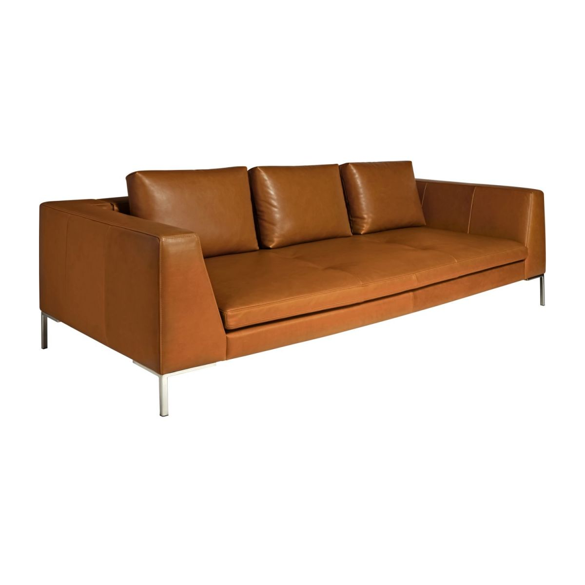 Habitat Sofa Montino 3 Seater Sofa In Vintage Aniline Leather Old Chestnut