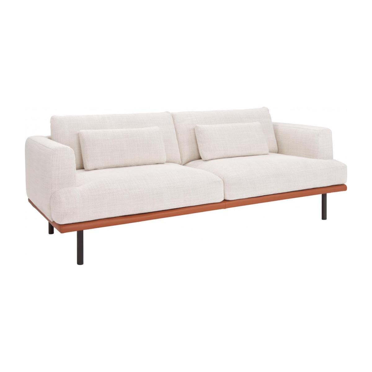 Habitat Sofa Baci 2 Seater Sofa In Fasoli Fabric Snow White With Base In Brown Leather