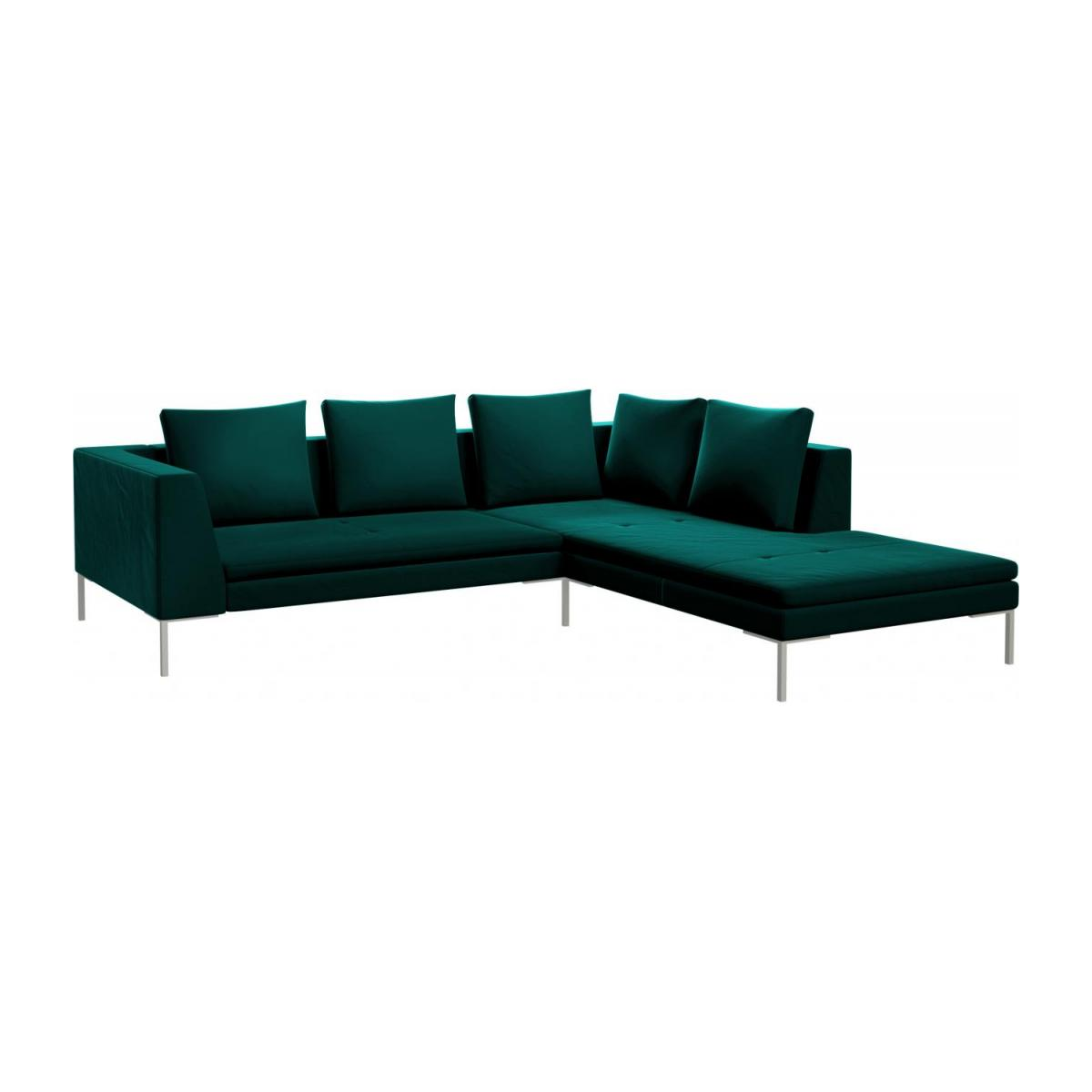 Couch Petrol Montino 2 Seater Sofa With Chaise Longue On The Right In Super Velvet Fabric Petrol Blue