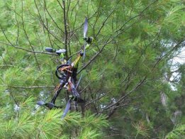 Scrap parts assemble to rescue stuff stuck in tree