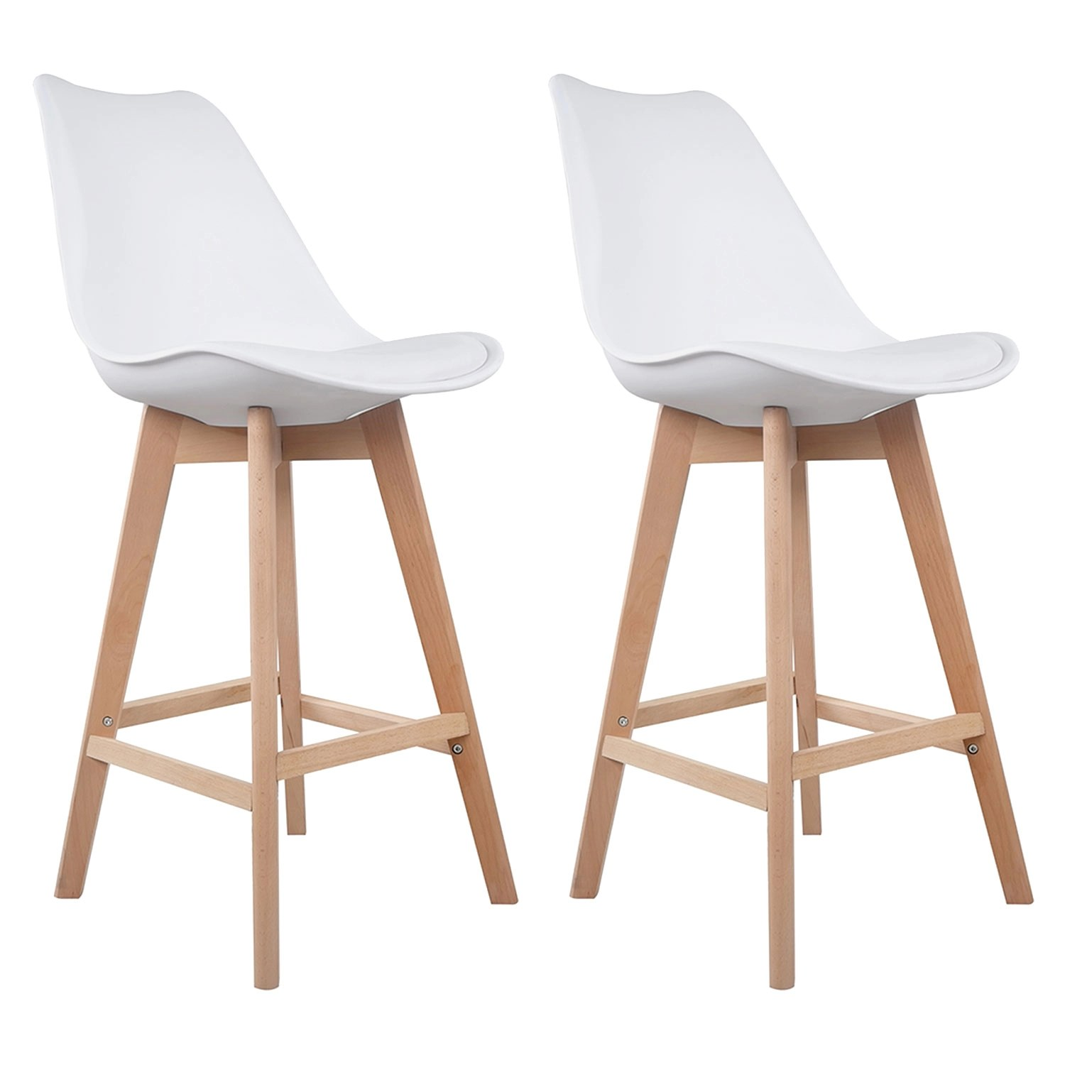 Lot De 2 Tabourets Scandinaves Blanc Sven Happy Garden