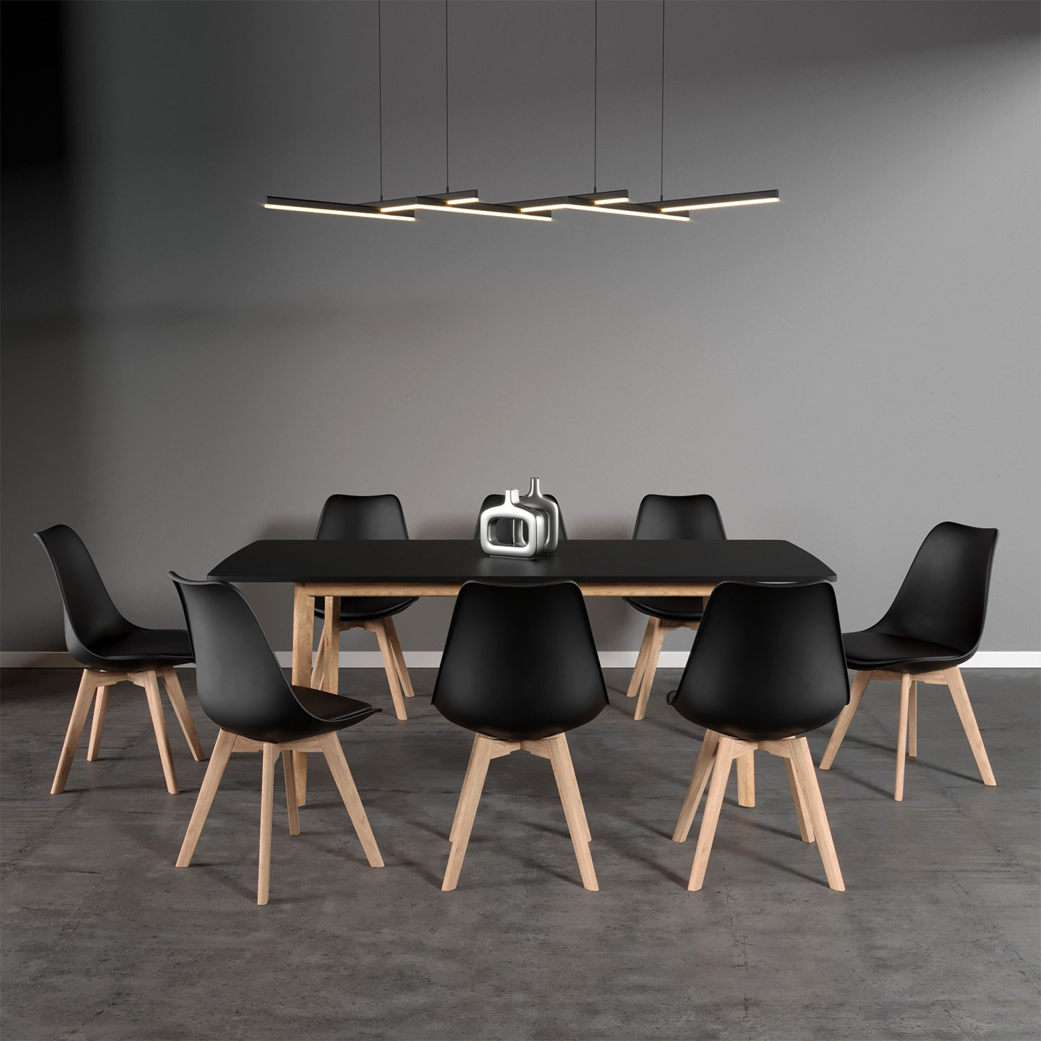 Ensemble Table Extensible Et 8 Chaises Scandinaves Noires Nora