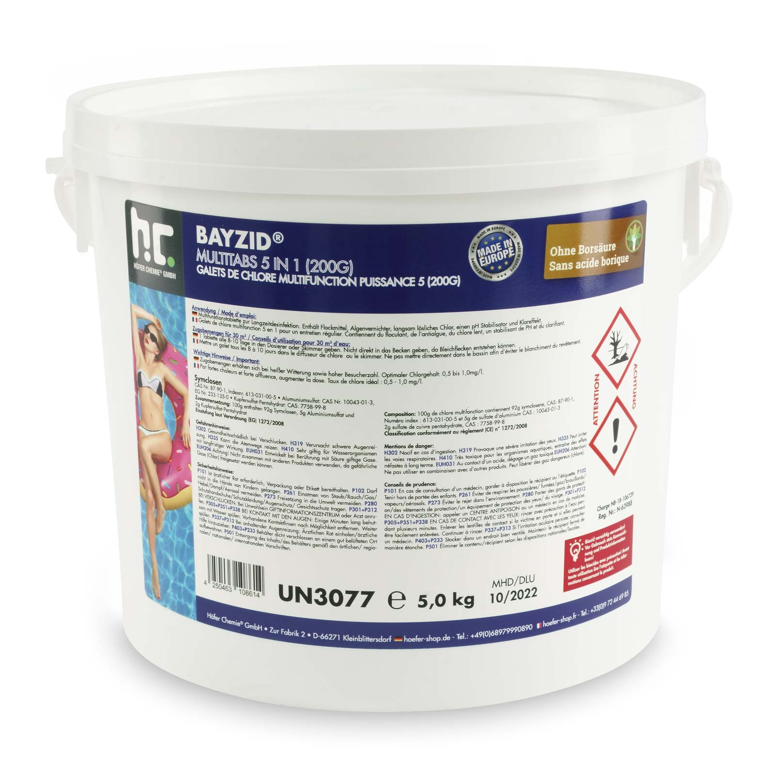 Flockkartusche Pool Pflege 5 Kg Bayzid Multitabs 200g 5in1 Für Pools