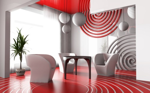 Medium Of Red Living Room