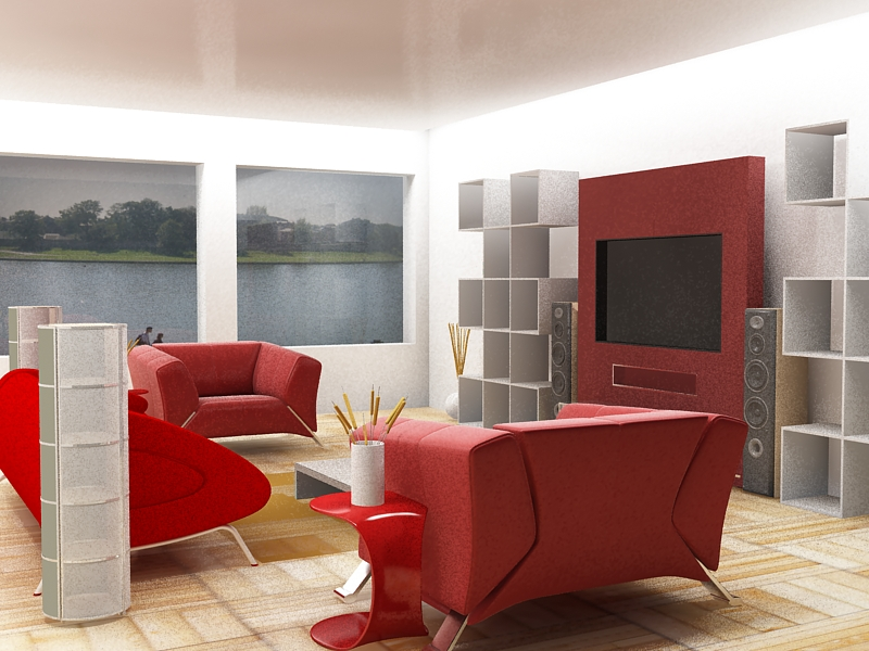 28 Red and White Living Rooms - red and black living room set