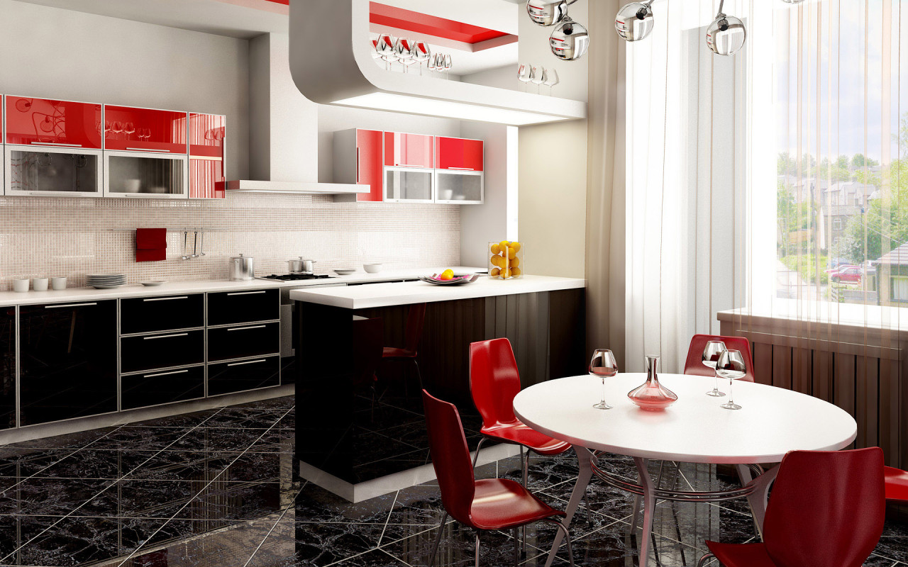 Red And Black Kitchen Black And Red Kitchen - Home Decorating Ideas