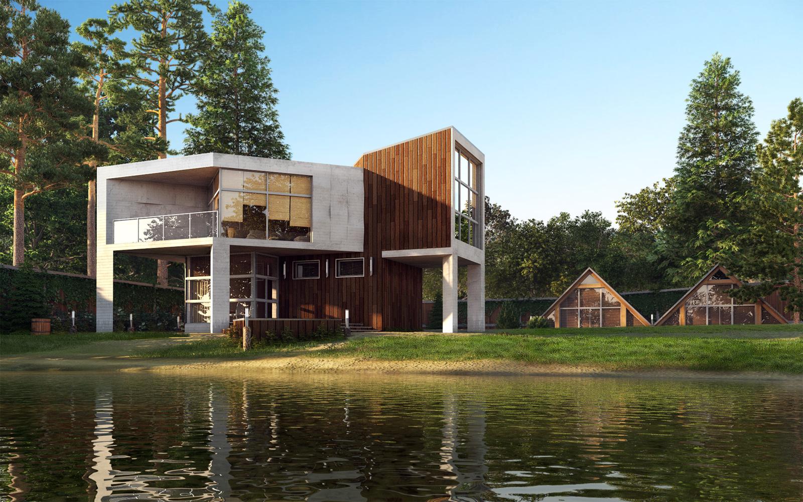 House design near river