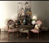 Classic decor asian inspired designs striped chairs