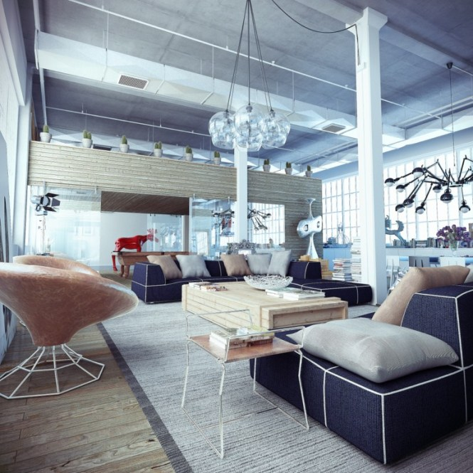 industrial loft with whimsical decor