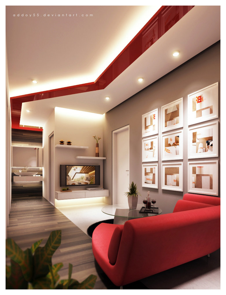 Large Of Red Living Room