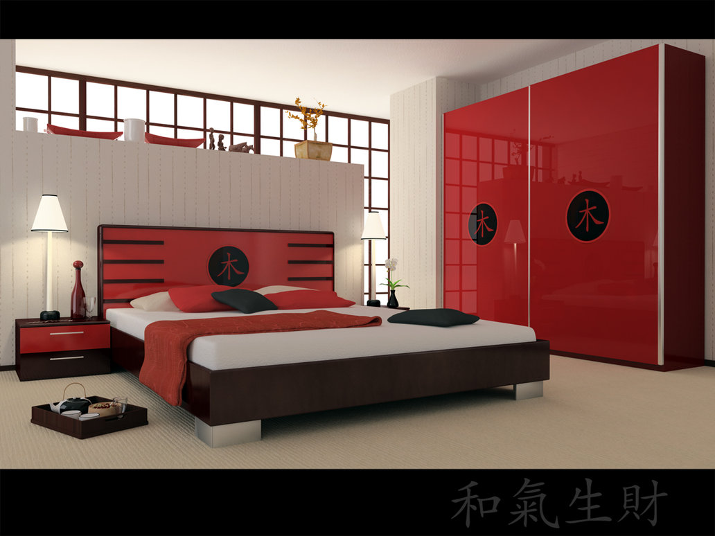 Japanese Bedrooms Style Red Bedrooms