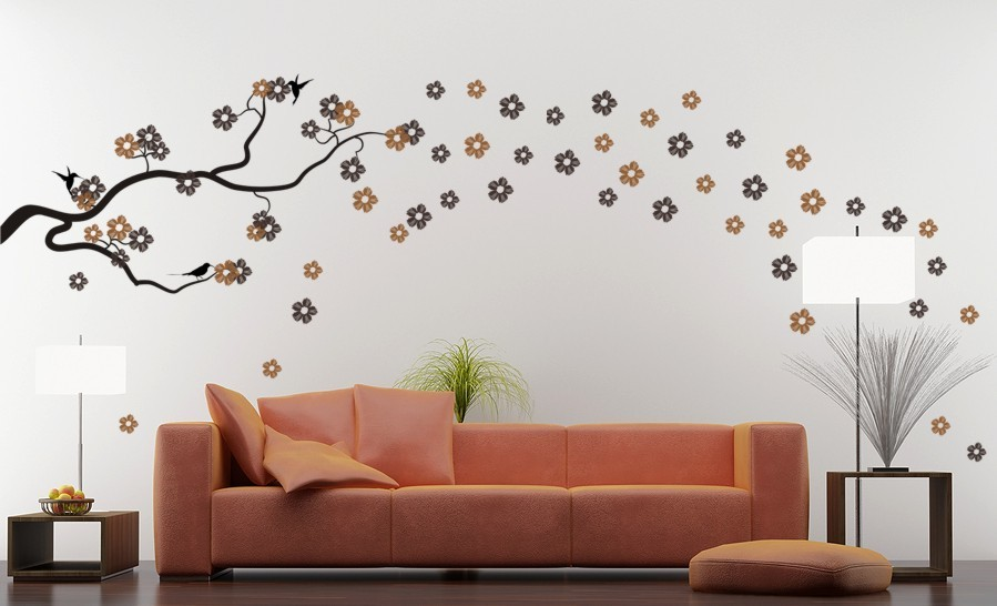 work silhouettes furniture flows dandelion blossom wall decals stickers appliques home decor