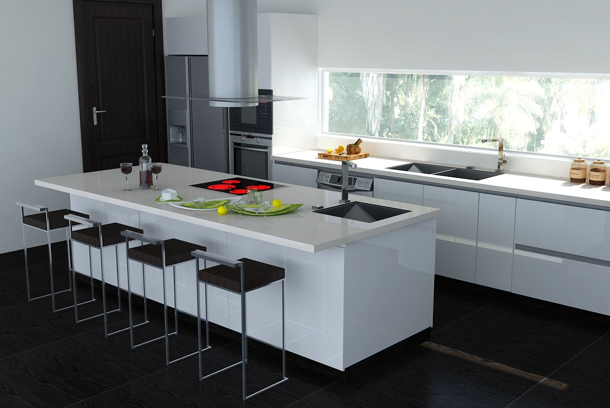 black white interiors white kitchen dark floors