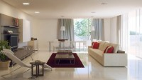 grey white red living room
