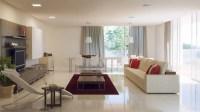 grey white red living room | Interior Design Ideas.