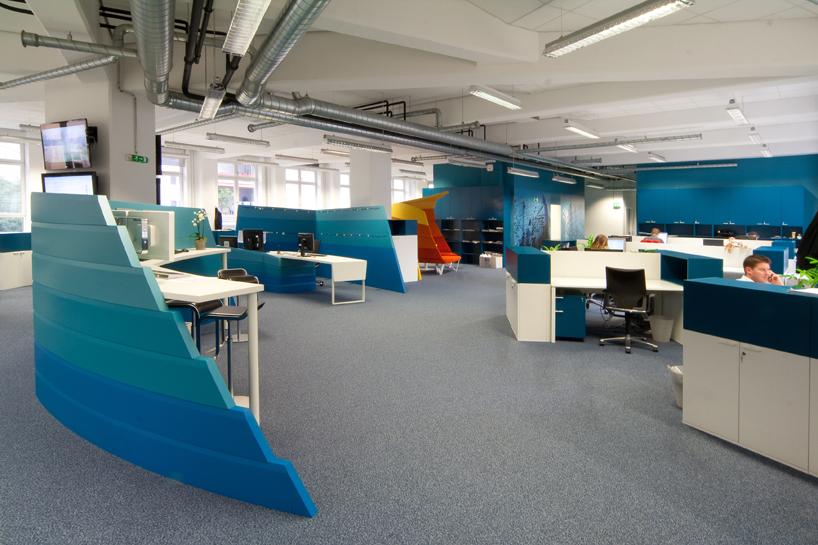 Blue Curved Office Desk Dividers Interior Design Ideas