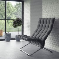 Gray feature chair white interior brick wall | Interior ...