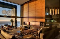 Neutral wood panel living room sea view | Interior Design ...