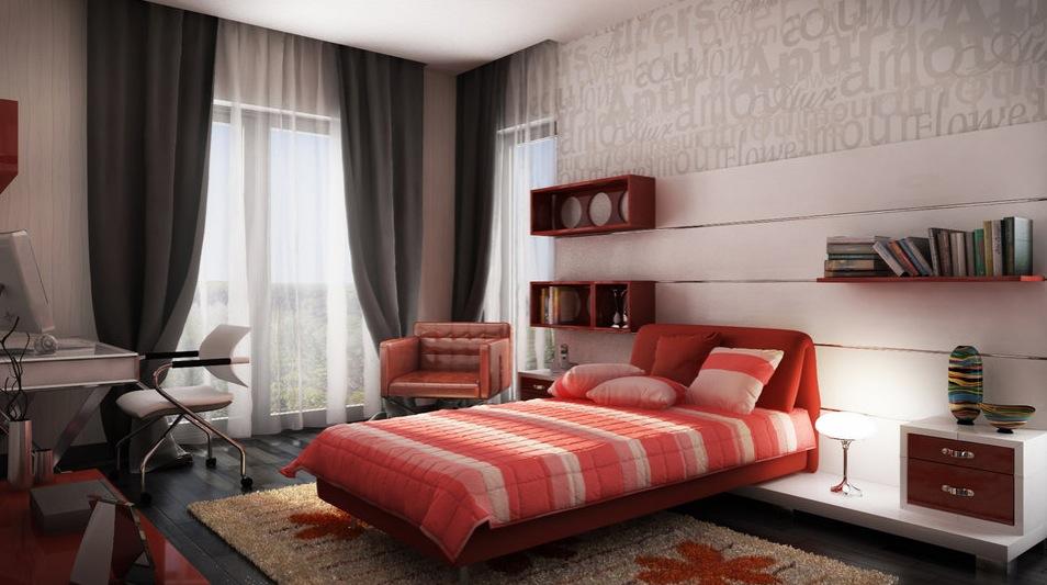 Red white gray bedroom