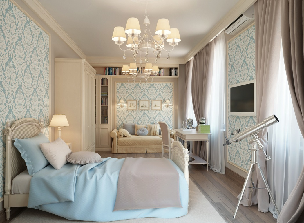Traditional Bedroom Blue Cream Traditional Bedroom | Interior Design Ideas.
