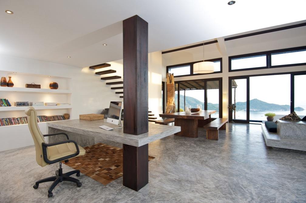 tropical beach villa organized interior design office space peltier interiors