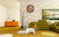 Retro white orange green living room | Interior Design Ideas.
