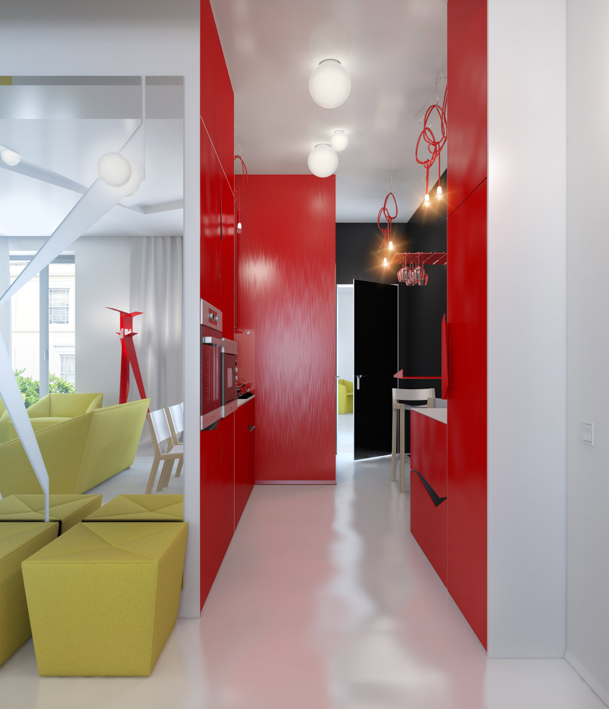 Red And Yellow Decor Small Apartment Zinging With Color