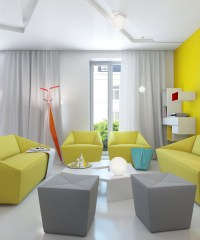 yellow gray white modern living room | Interior Design Ideas.