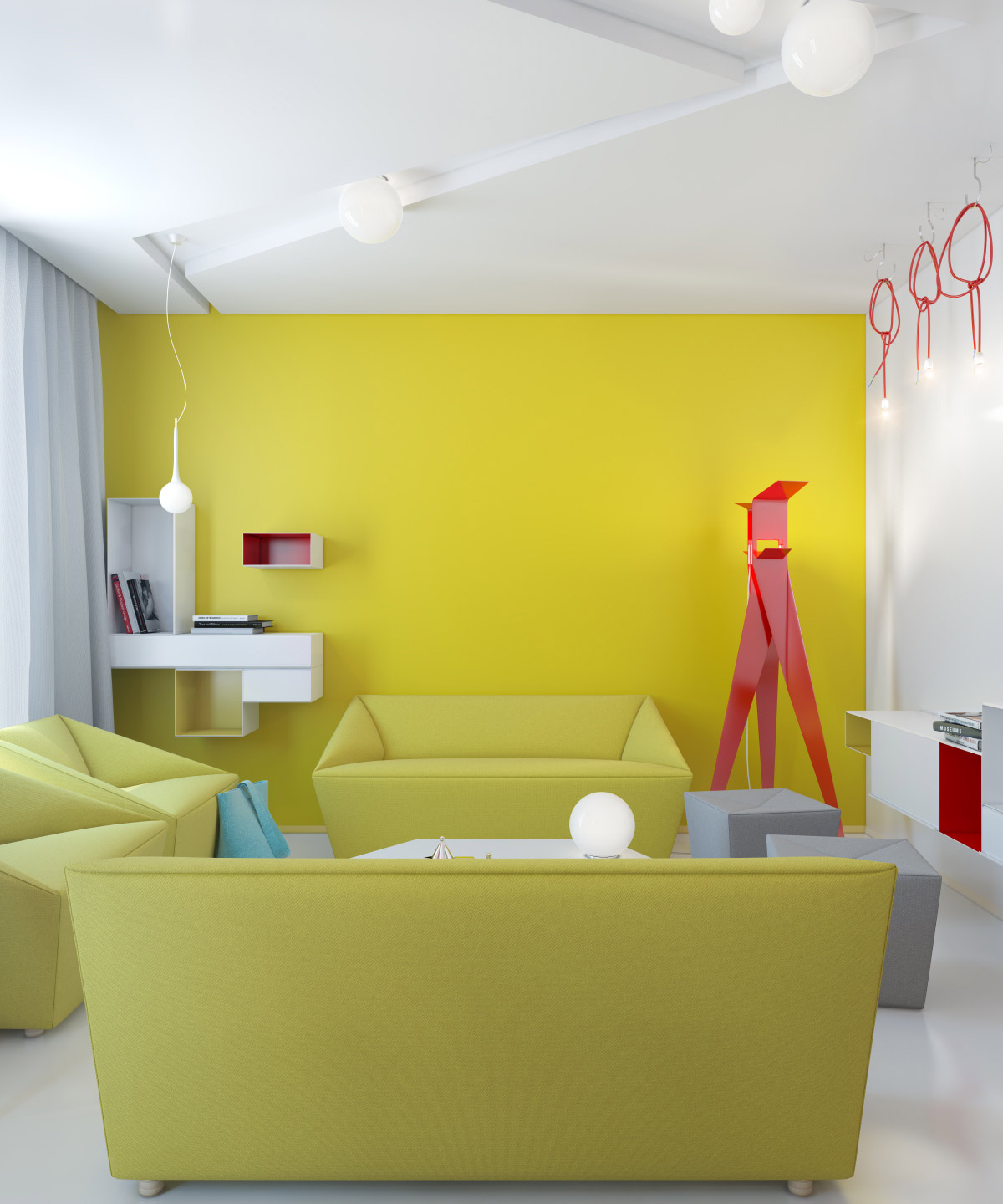Red Accents Yellow Living Room Red Accents Interior Design Ideas
