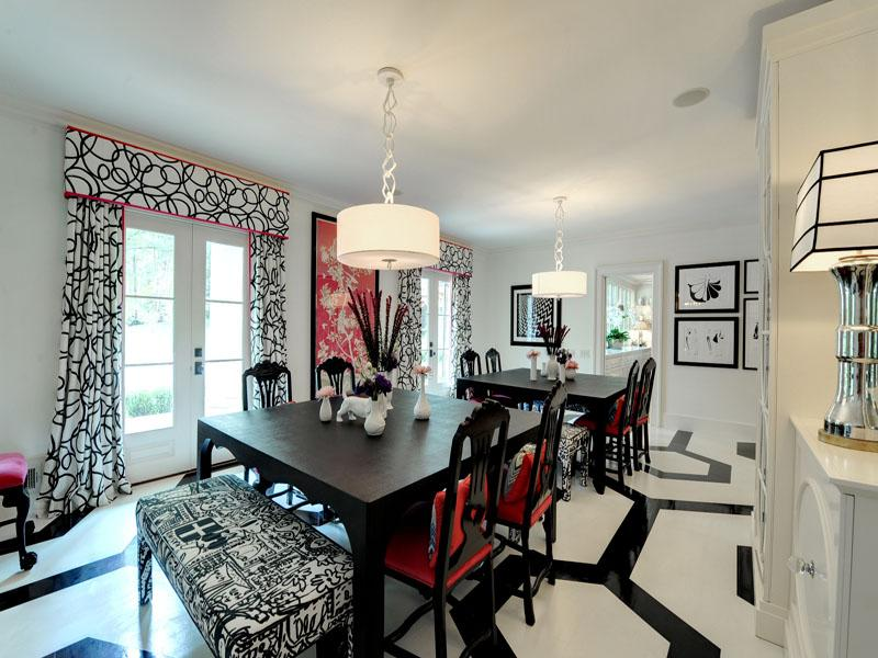 Black white red dining room Interior Design Ideas - black and red living room ideas