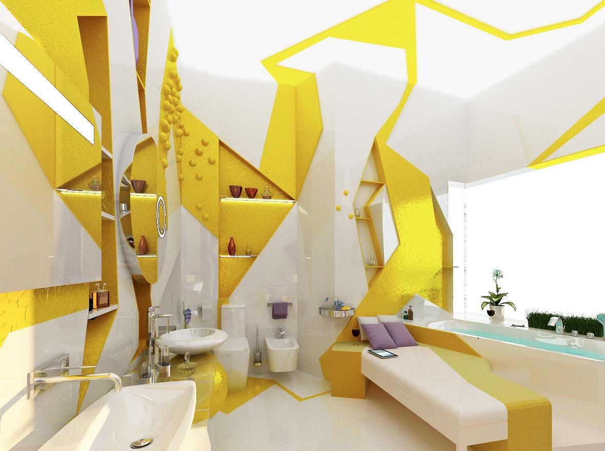 Yellow white decor compact apartment design interior