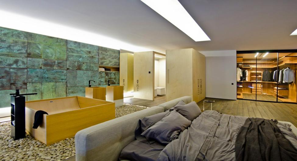 Open Plan Bedroom Bathroom Interior Design Ideas