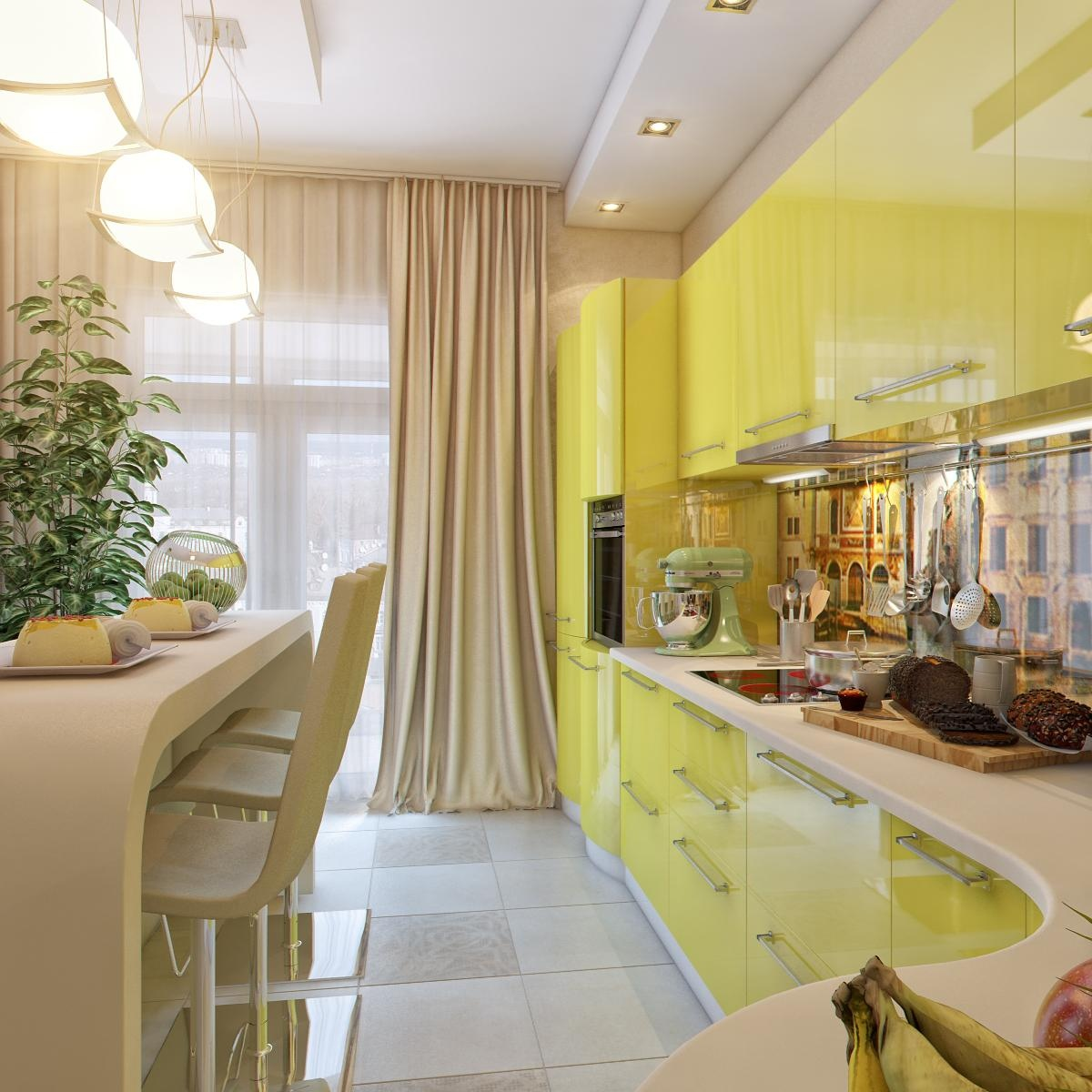 Kitchen Design Yellow Cabinets Yellow White Kitchen Dining Space Interior Design Ideas