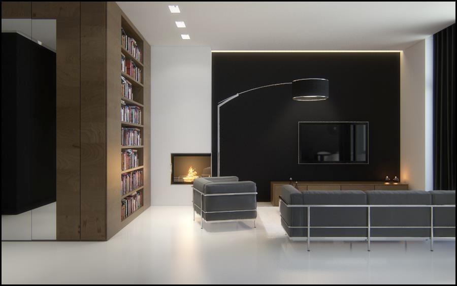 Black brown white sophisticated living room Interior Design Ideas - design ideas