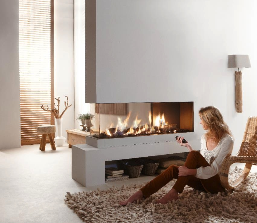 Tv Wand Industrial Contemporary Dual Aspect Fireplace | Interior Design Ideas.