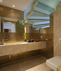 Metallic bathroom mosaic tile   Interior Design Ideas.