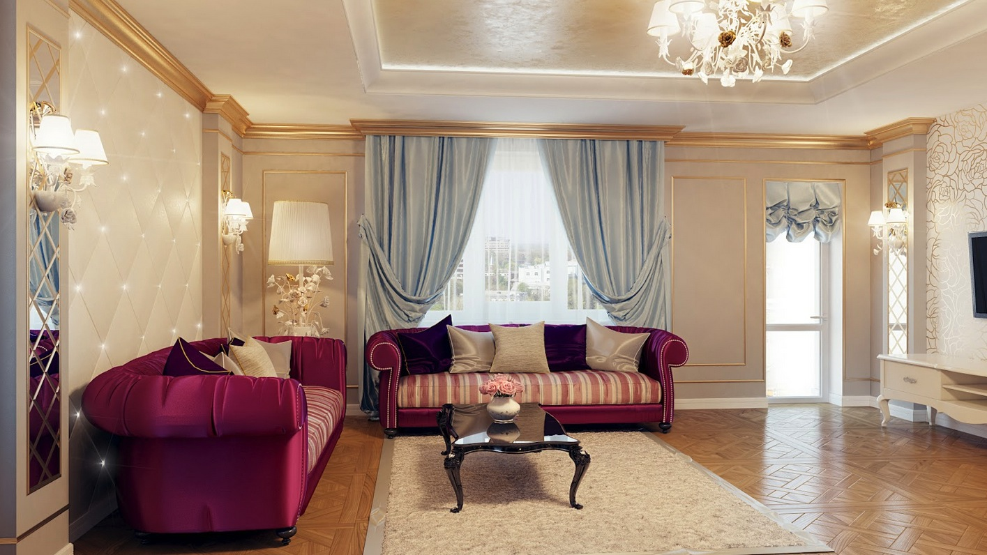 Living Room Decoration Regal Purple Blue Living Room Decor Interior Design Ideas