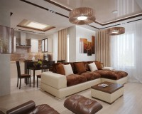 Brown cream living room