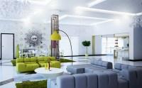 Modern green gray white living room   Interior Design Ideas.
