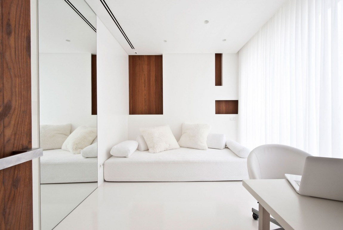 apartment awash walnut white house white interiors